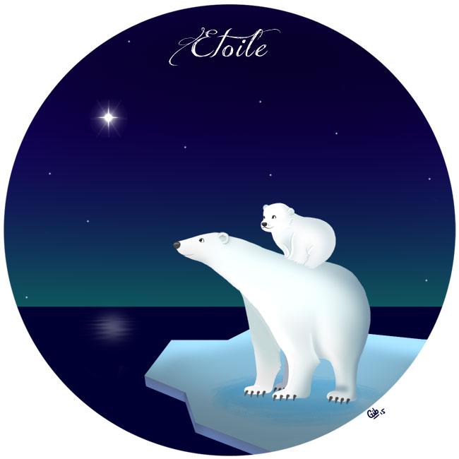 calendrier de l'avent illustré mignon noël bûche de noël christmas cadeaux amour étoile star polar bear ours polaire