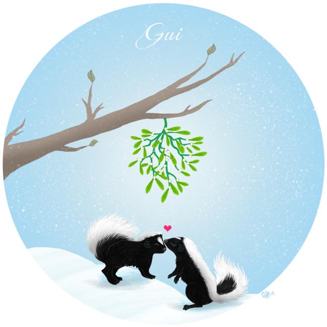 calendrier de l'avent illustré mignon noël bûche de noël christmas cadeaux amour gui
