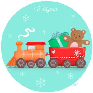 calendrier de l'avent illustré mignon noël bûche de noël christmas cadeaux amour wagon jouet
