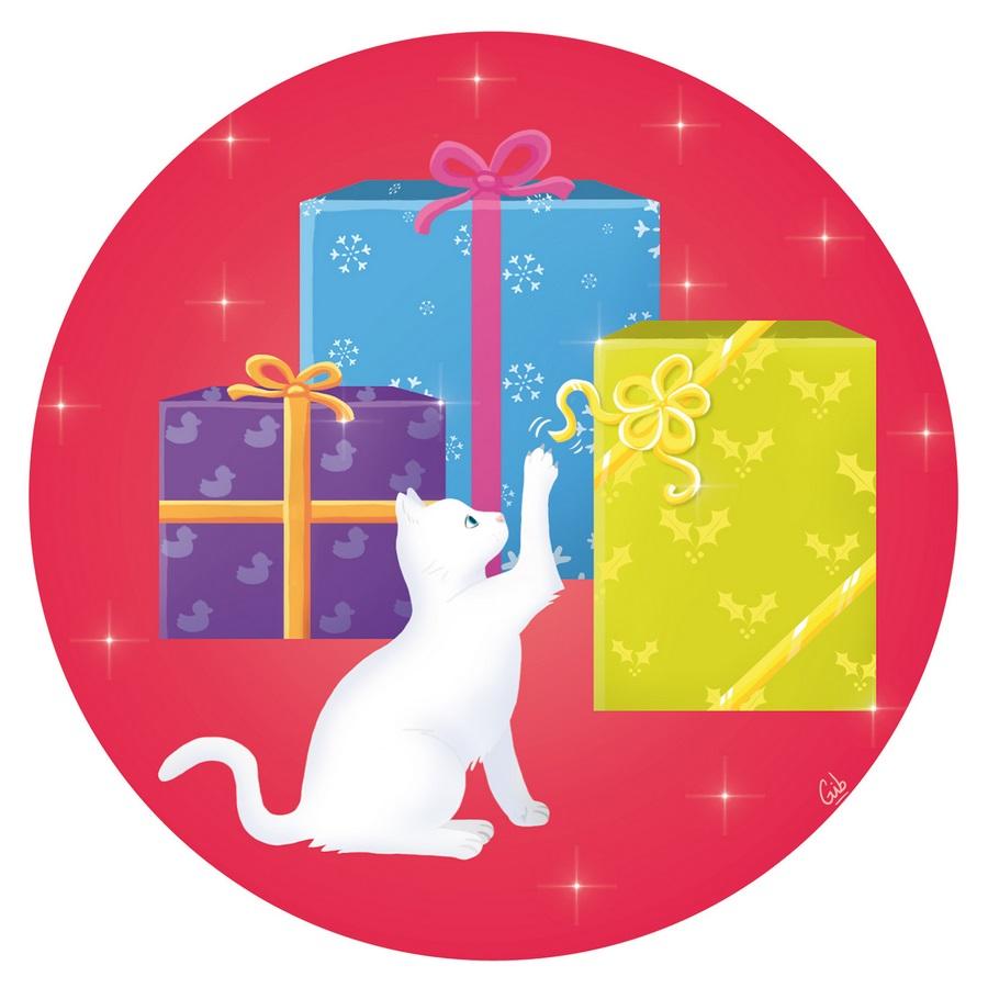 cadeaux de Noël christmas chat blanc mignon cute