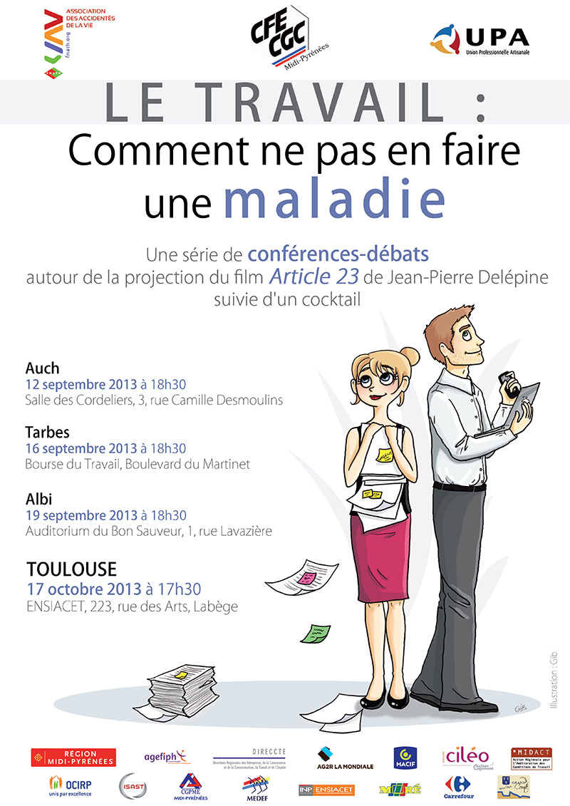 affiche travail fnath illustration conception graphique