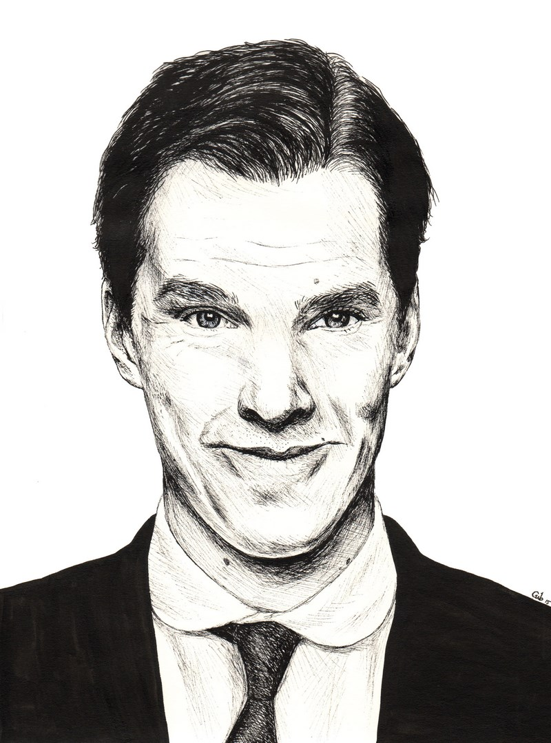 Benedict Cumberbatch, portrait, encre de Chine, Sherlock