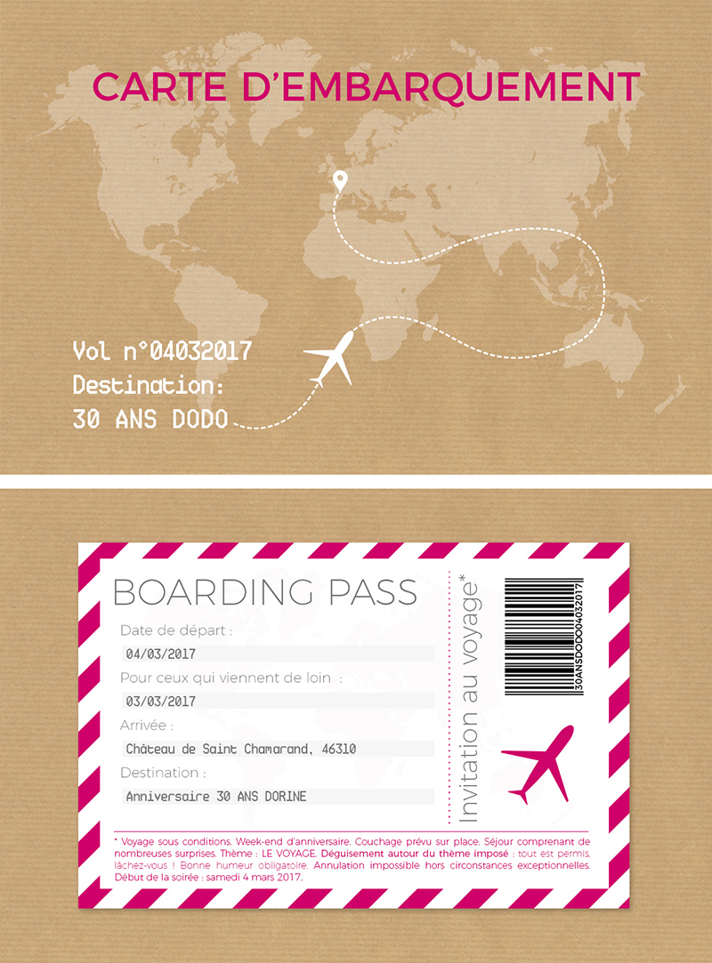carte embarquement avion anniversaire conception graphique graphisme