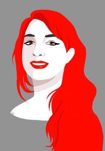 digital portrait, numérique, portrait, red hair, rousse