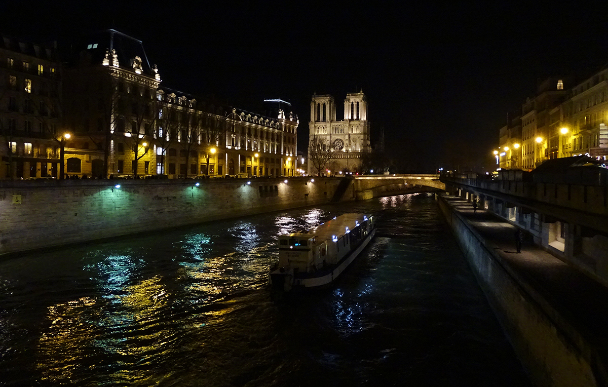 photographie photo paris by night notre dame notre-dame de paris seine bateau mouche nocturne
