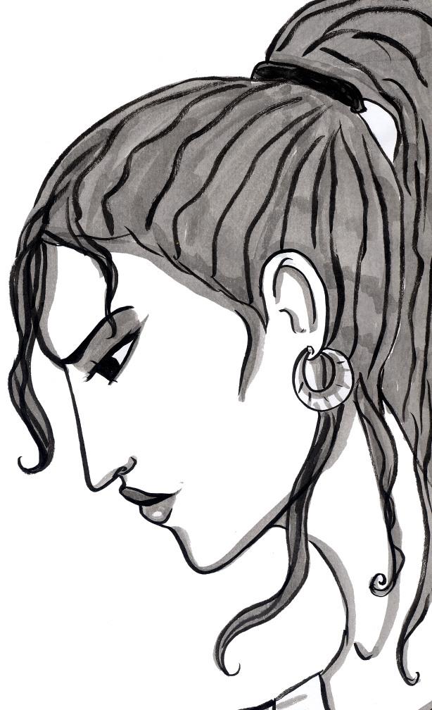 visage de profil exotique encre de chine
