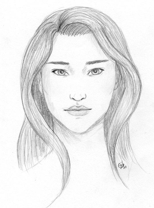 native american girl dessin crayon