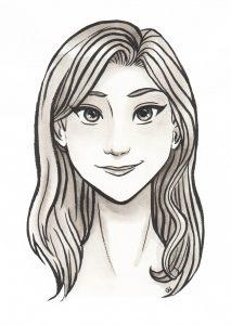 cute face mignonne visage portrait encre de chine