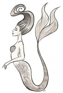 sirène mermaid encre de chine lavis croquis mermay