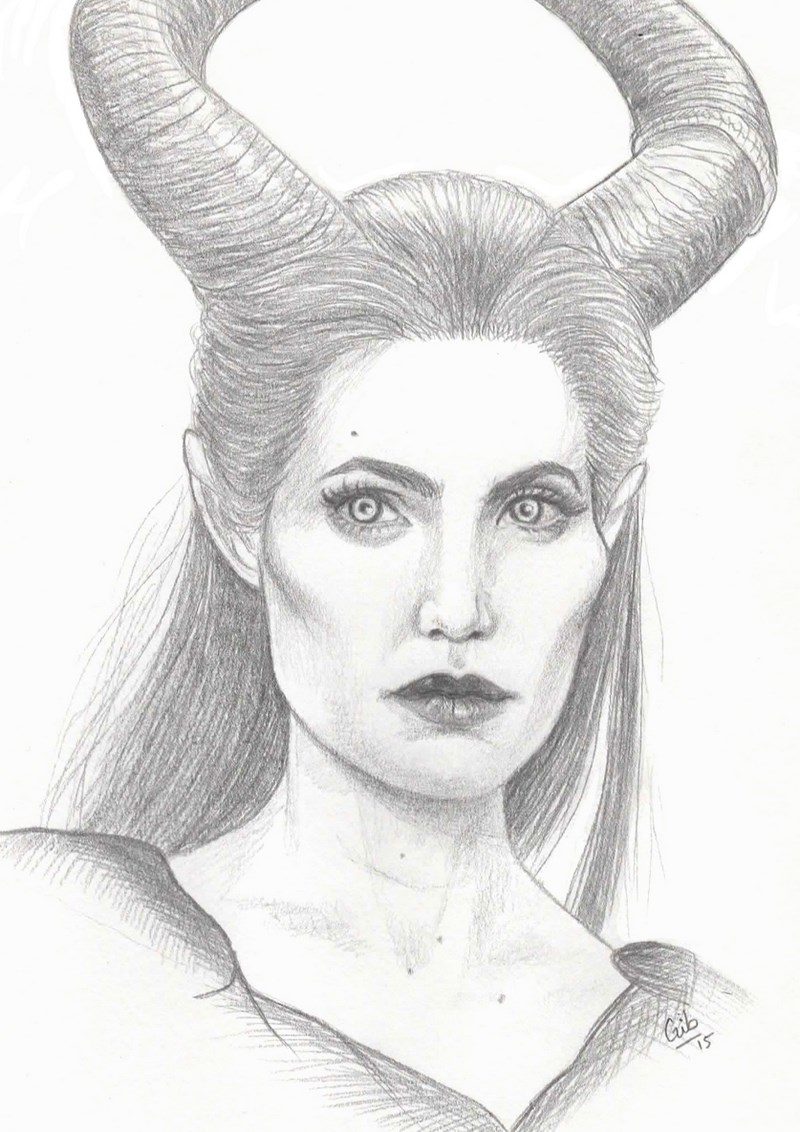 maleficent, maléfique, angelina jolie, portrait, crayon, disney, fanart