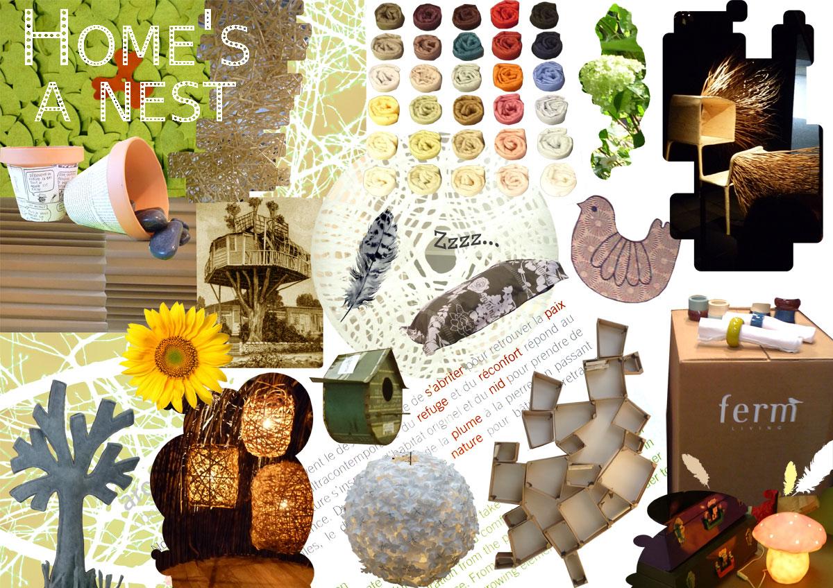 planche de tendances moodboard nature lin matières bio écolo