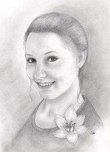 portrait, femme, crayon, commande