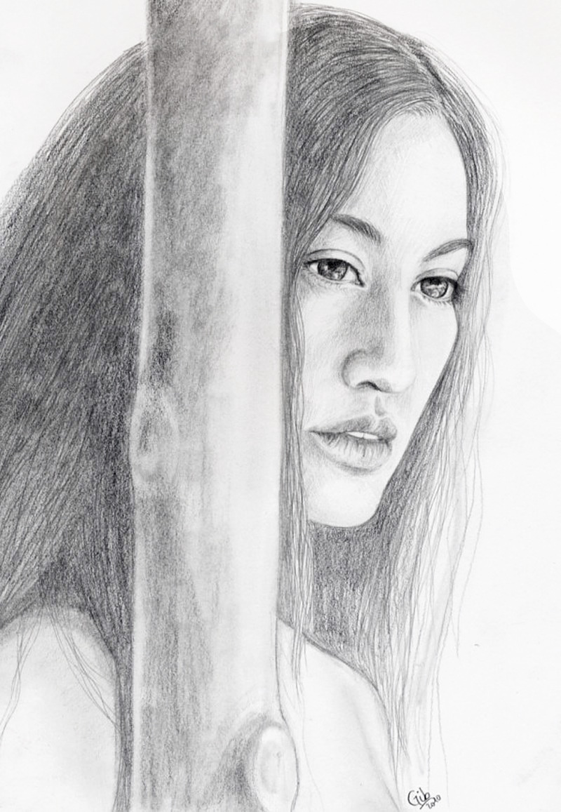 portrait, femme, crayon, woman, native