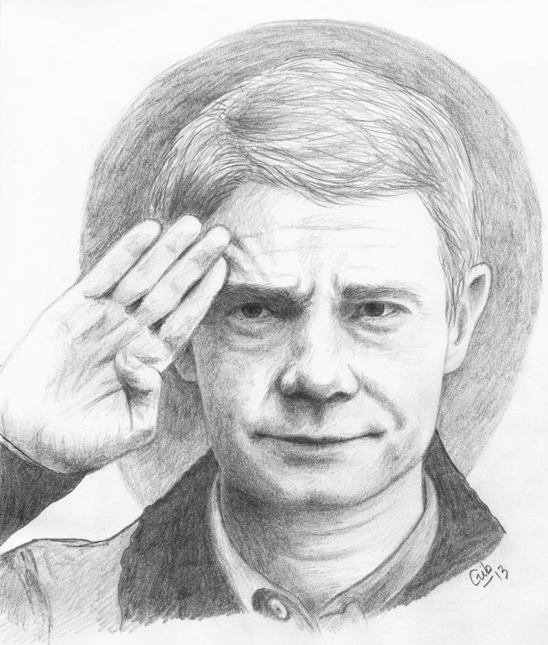 John Watson, Martin Freeman, sherlock, portrait, crayon