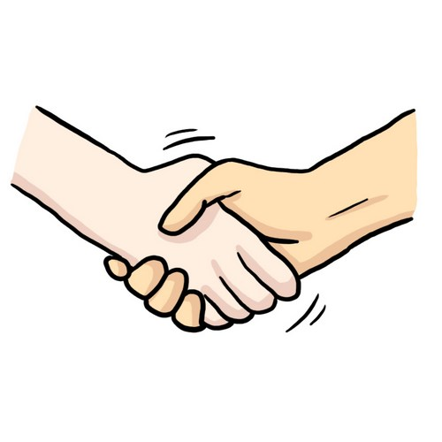 Illustration ;aide au langage document orthophonie bonjour poignée de main logopédie