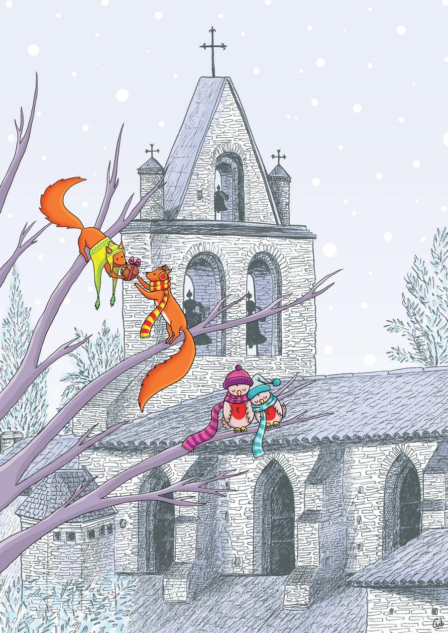 carte de voeux mignon église animaux