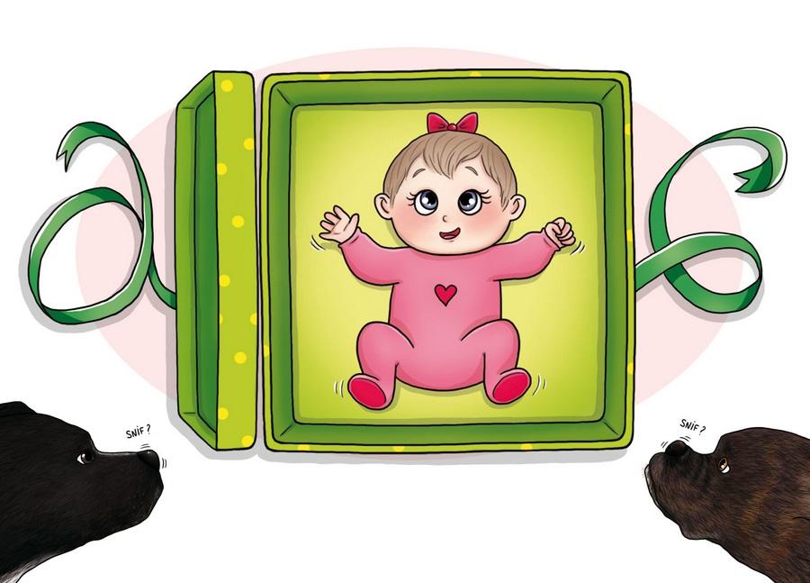 bande dessinée personnage faire part de naissance bébé mignon