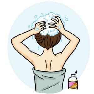Illustration aide au langage document orthophonie logopédie se laver les cheveux shampoing shampoo laver tête