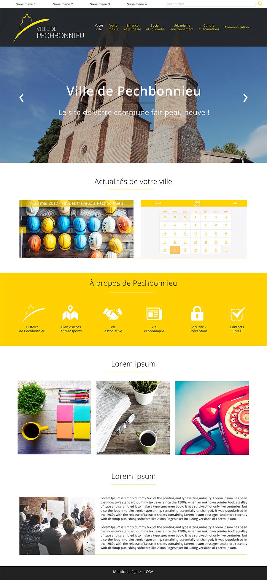 Maquette mockup site web site internet pechbonnieu