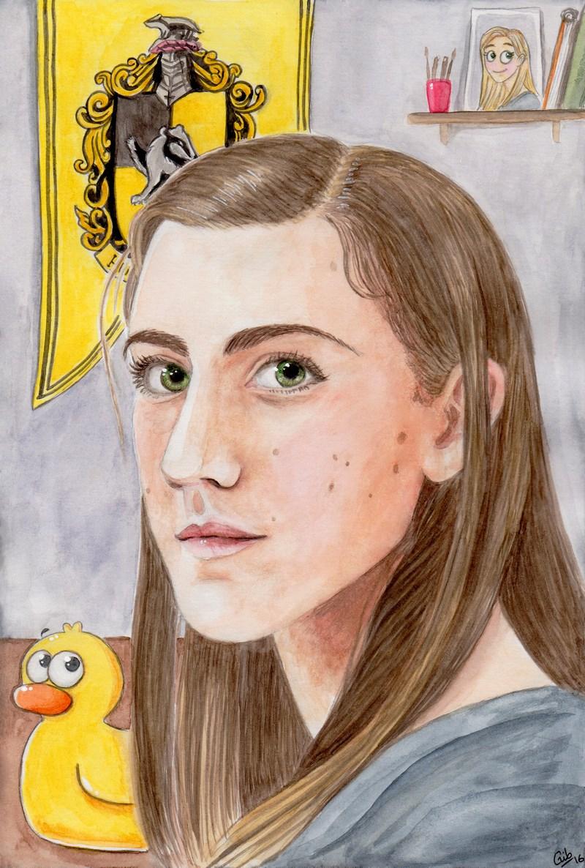 Autoportrait : Marie - Gib, aquarelle, portrait, couleur