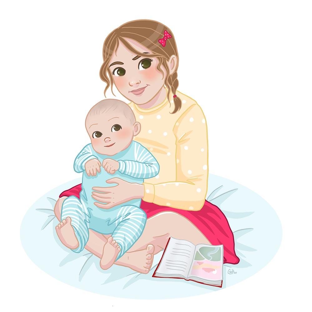 Illustration enfant jeunesse portrait enfant style BD