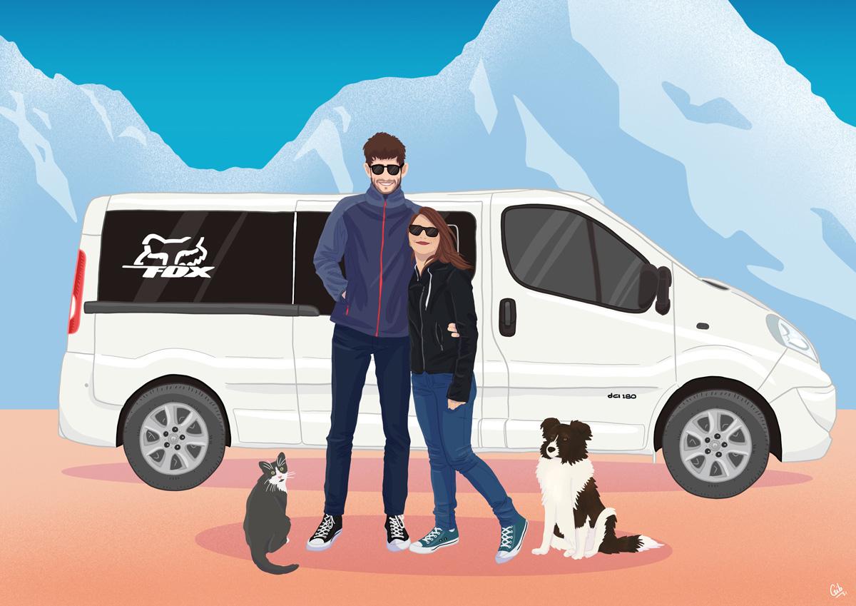 Foxy the van : illustration vanlife
