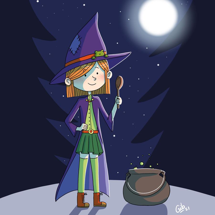 Illustration jeunesse toulouse sorcière mignonne