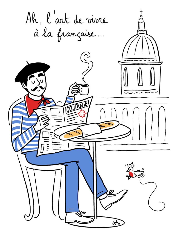 Cliché français baguette illustration toulouse
