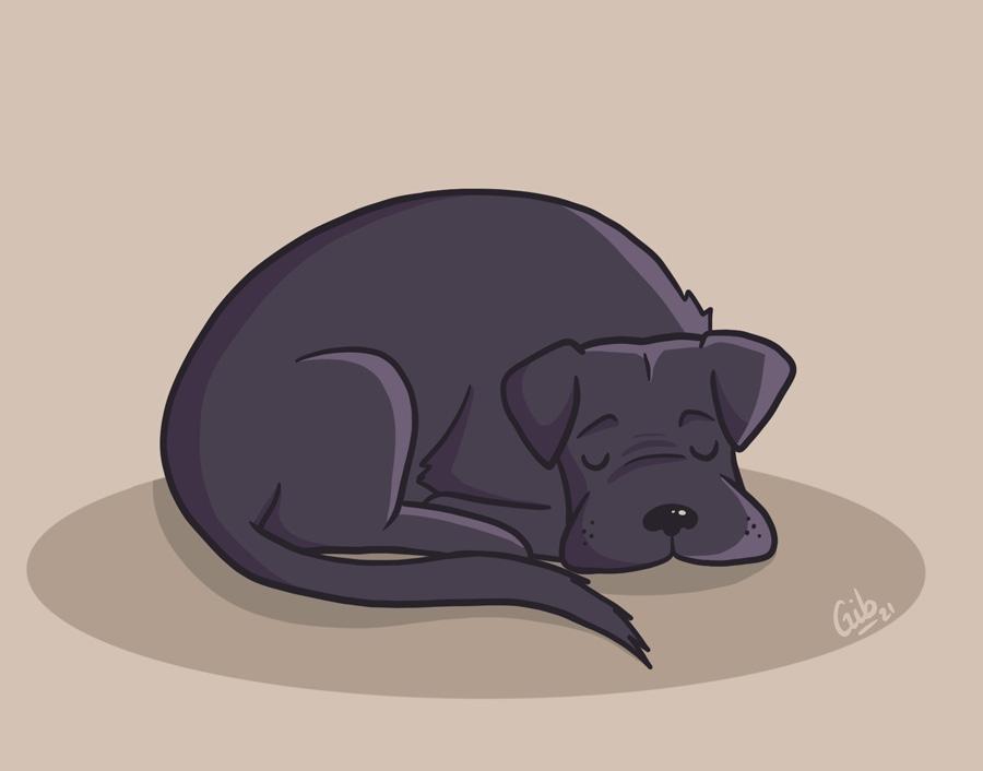 Illustration mignonne chien couché endormi